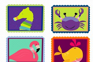 Animals on Frames Clipart