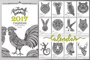 Zentangle Animals Calendar 2017