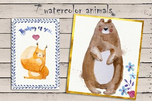 7 watercolor animals