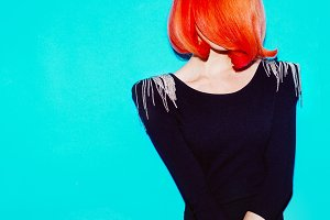 Beauty Model. Style Hair. Red Hair