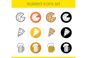 Pizzeria. 12 icons set. Vector