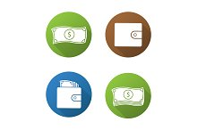 Money. 4 icons. Vector