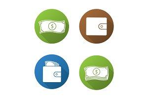 Money. 4 icons. Vector