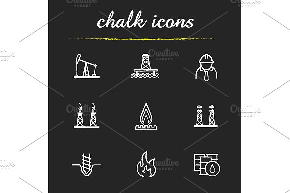 Oil industry. 9 icons. Vector - Icons