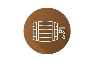 Alcohol wooden barrel icon. Vector
