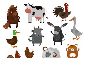 Farm animals pets vector