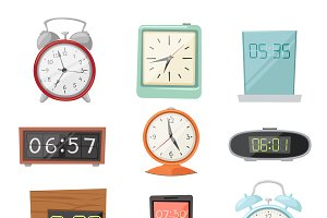 Clock watch alarms vector icons