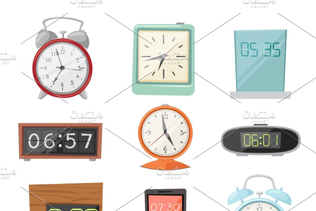 Clock watch alarms vector icons