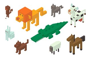 Animal vector 3d isometric icons
