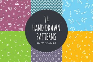 14 Hand Drawn Seamless Patterns