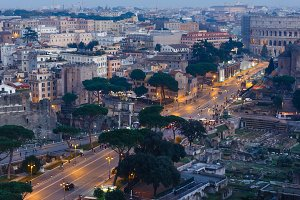 Rome City illuminated view, Italy.