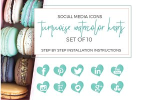 Turquoise Watercolor Social Icons