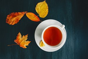 Cup of Tea with fall yellow leaves