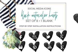 Black Watercolor Heart Social Icons