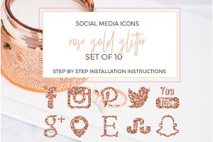 SALE! Rose Gold Glitter Social Icons