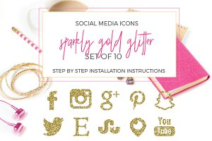 SALE! Gold Glitter Social Icons