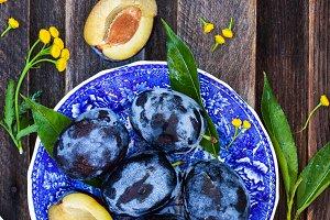 Ripe blue plums