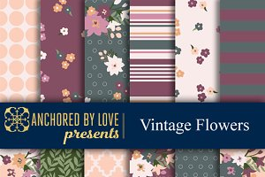 Vintage Flowers Digital Paper