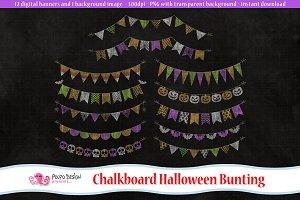 Chalkboard Halloween Bunting clipart
