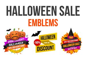 Halloween Sale Emblems Set
