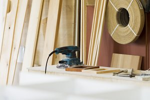 Furniture workshop, woodworking shop, interior