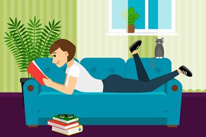 Woman with book on sofa