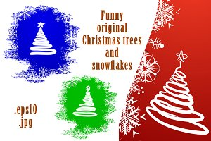 Funny Christmas trees and snowflakes