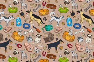 Pattern with dogs and accessories