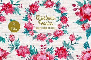 Watercolor Clipart Christmas Peonies