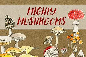 Mighty Mushrooms Watercolor Clip Art
