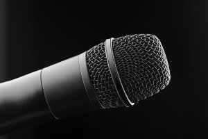 black microphone close up