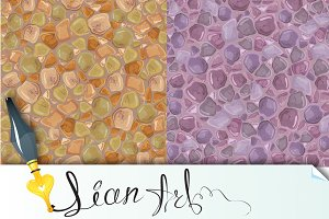 2 Seamless patterns - Stones Backgro
