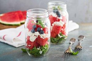 Watermelon salad in a jar with feta
