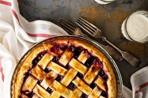 Homemade cherry pie with lattice