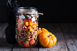 Halloween candy and snacks in a jar