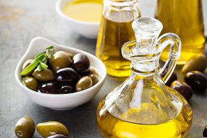Olive oil in vintage bottles