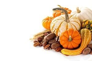 Fall copyspace with decorative pumpkins