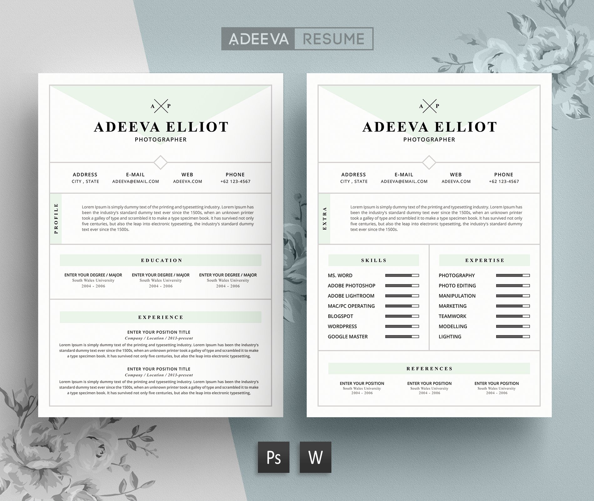 modern resume template elliot resume templates on creative market