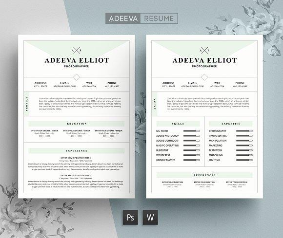 modern resume template elliot resume templates creative market - Modern Resume Template