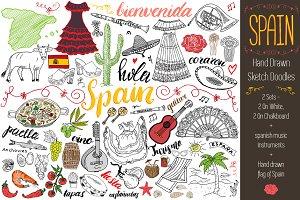 Spain Sketched Doodles Vector set