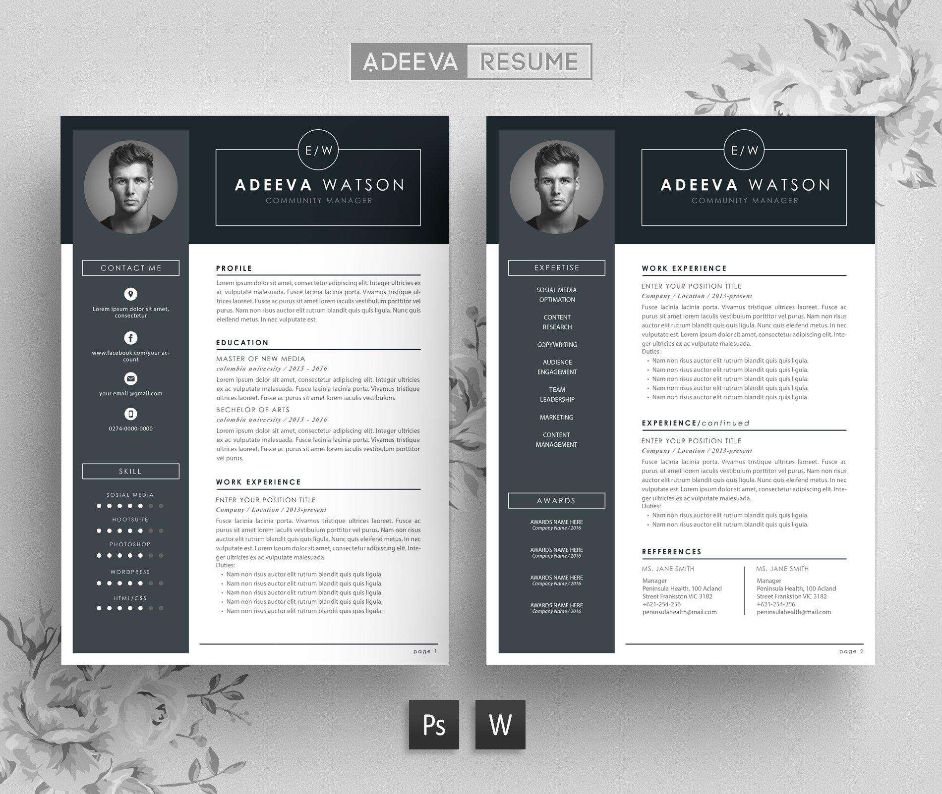 Creative Resume Design Examples: Professional Resume Template Watson