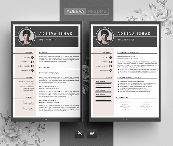 professional resume template ishak resume templates creative market