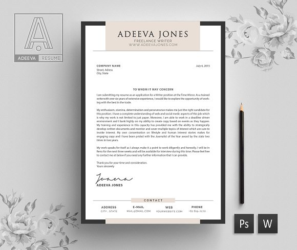 Professional resume template jones resume templates creative market yelopaper Choice Image