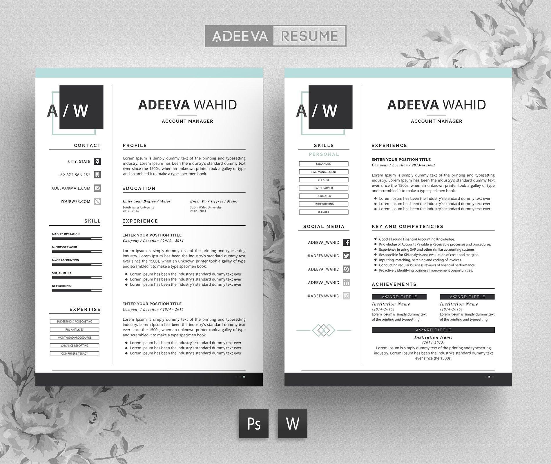 simple resume template wahid resume templates creative market