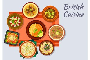 British cuisine dishes set