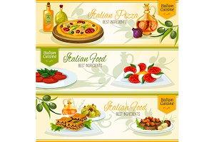 Italian cuisine banners set