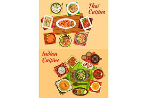 Indian and thai cuisine menu dishes