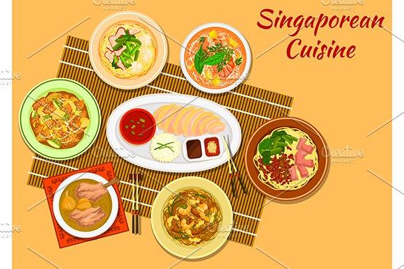 Singaporean national cuisine in Graphics