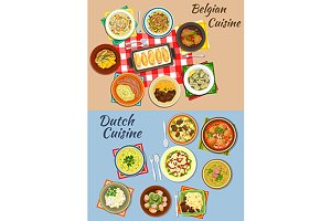 Dutch and belgian cuisine dishes