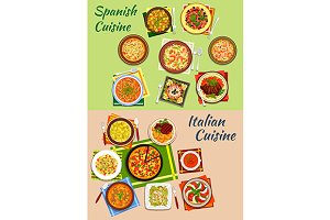 Italian and spanish national cuisine